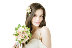 Beautiful bride with wedding bouquet Stock Photos