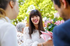 Beautiful bride at wedding ceremony royalty free stock photography
