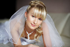 Beautiful bride in wedding day Stock Images