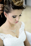 Beautiful bride on wedding day royalty free stock images