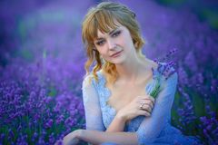 Beautiful Bride in wedding day in lavender field. Newlywed woman in lavender flowers. Beautiful Bride in wedding day in lavender field. Newlywed woman in stock photos