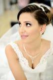 Beautiful bride on wedding day Stock Photos
