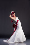 Beautiful bride in wedding dress royalty free stock image