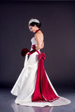 Beautiful bride in wedding dress stock photos