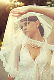 Beautiful bride in wedding dress Stock Photography