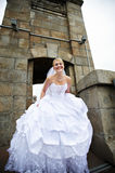 Beautiful bride in a wedding dress on bridge Stock Photo