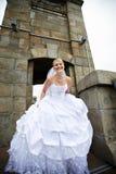 Beautiful bride in a wedding dress on bridge Stock Photo