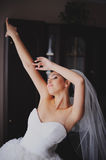 Beautiful bride in wedding dress getting ready Stock Photos