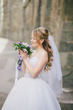 Beautiful bride in wedding dress on her wedding day Stock Images