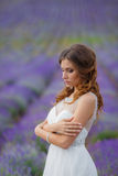 Beautiful bride in wedding dress in lavender field Stock Photography