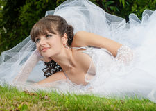 beautiful bride in wedding dress on nature Royalty Free Stock Photo