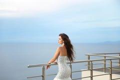 Beautiful Bride in wedding dress, outdoor portrait. Brunette ele Royalty Free Stock Photography