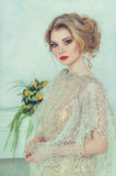 Beautiful bride in wedding dress. Royalty Free Stock Photography