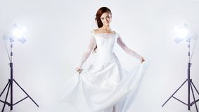 Beautiful bride in wedding dress,  the Studio Stock Image
