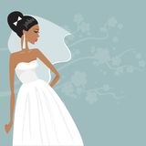 Beautiful bride in a wedding dress. Vector illustration Stock Photography