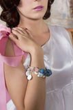 Beautiful Bride In Wedding Gown Wearing A Bracelet Royalty Free Stock Photos