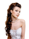 Beautiful bride with wedding hairstyle Royalty Free Stock Photography