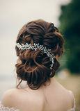 Beautiful bride with wedding hairstyle royalty free stock images