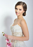 Beautiful bride. Wedding hairstyle and make up Stock Image