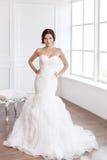 Beautiful bride. Wedding hairstyle make-up luxury fashion dress concept stock photos