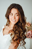 Beautiful bride. Wedding hairstyle and make up. Stock Photos