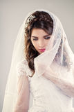 Beautiful Bride. Wedding Hairstyle and Makeup Stock Image