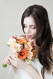 Beautiful bride with wedding orange bouquet Royalty Free Stock Photos