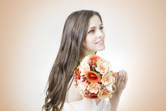 Beautiful bride with wedding orange bouquet Royalty Free Stock Images
