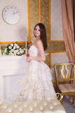 Beautiful Bride Wedding Portrait Indoors Stock Photo