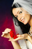 Beautiful bride with a wedding ring Royalty Free Stock Image