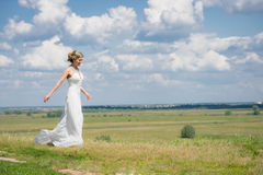 Beautiful bride on wedding walk Royalty Free Stock Image