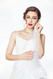 Beautiful bride in wedding white dress. royalty free stock images