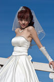 Beautiful bride in white on bridge (2) Stock Images