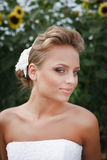 Beautiful bride in white dress. A beautiful bride in the white wedding dress Royalty Free Stock Photo