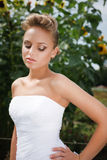Beautiful bride in white dress. A beautiful bride in the white wedding dress Royalty Free Stock Images