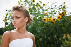 Beautiful bride in white dress Stock Photos