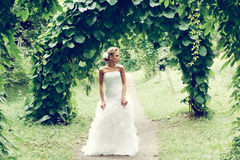 Beautiful bride in white dress stock photos