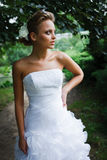 Beautiful bride in white dress Royalty Free Stock Image