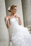 Beautiful bride in white dress royalty free stock images