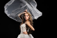 Beautiful bride in white dress Stock Photography