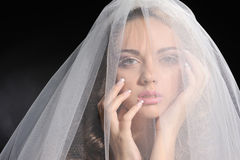 Beautiful bride in white dress Royalty Free Stock Photos