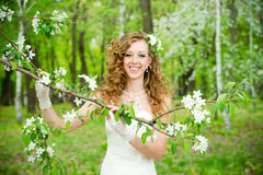 Beautiful bride in a white dress in blooming gardens in the spring Stock Images
