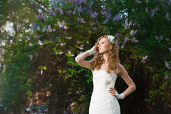 Beautiful bride in a white dress on a lilac background in spring Stock Photos