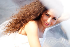 Beautiful bride. In the white dress at the sea Royalty Free Stock Photography