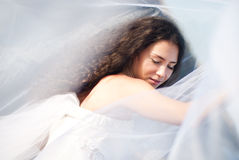 Beautiful bride. In the white dress at the sea Royalty Free Stock Photos