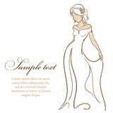 Beautiful bride in white dress. Vector illustration Royalty Free Stock Images