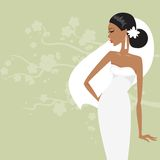 Beautiful bride in a white dress. Vector illustration Royalty Free Stock Images