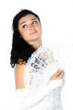 Beautiful bride with white fan Stock Image