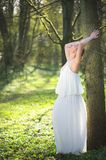 Beautiful bride in white wedding dress leaning against tree outdoors Stock Photography