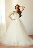 Beautiful bride in white wedding dress mariage Stock Image